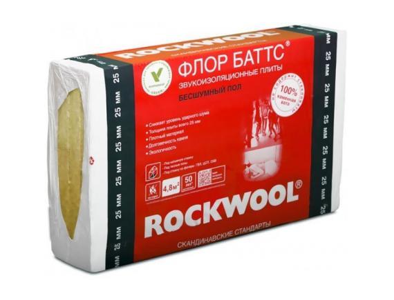 Базальтовая вата Rockwool/Роквул Флор Баттс 1000х600х25 мм 8 плит в упаковке(4.8м2,0.12м3)
