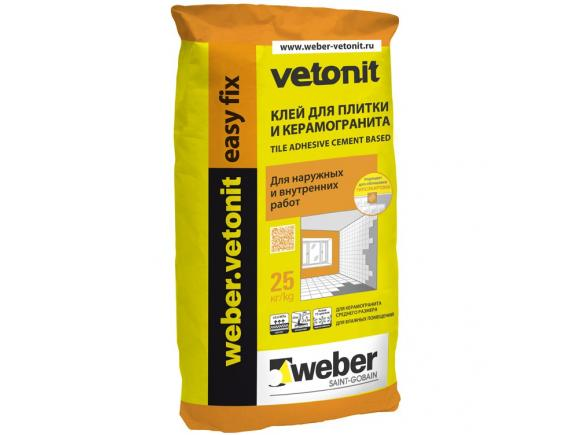 Клей для плитки и керамогранита Weber-Vetonit easy fix/Вебер-Ветонит изи фикс 25 кг